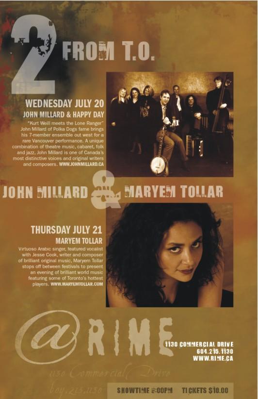 John Millard & Maryem Tollar -- 7.20-21.05 -- Rime