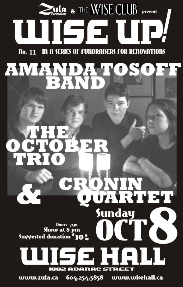 Wise Up! #11: Amanda Tosoff Band / The October Trio / Cronin Quartet -- 10.8.06 -- WISE Hall
